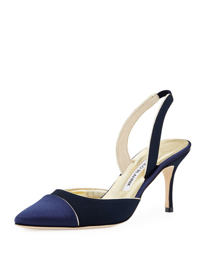 Clarice Satin Halter Pump, Navy
