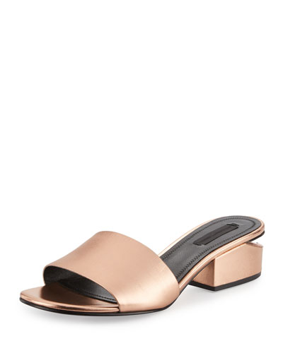 Lou Metallic Slide Sandal, Rose Gold