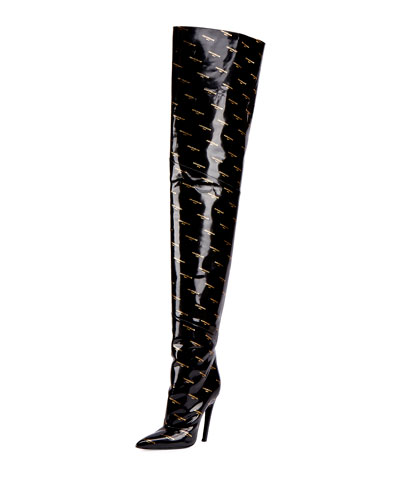 Logo-Print Patent Over-The-Knee Boot, Noir (Black)