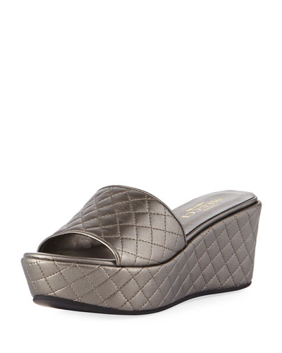 Tahnee Quilted Wedge Slide Sandal, Pewter