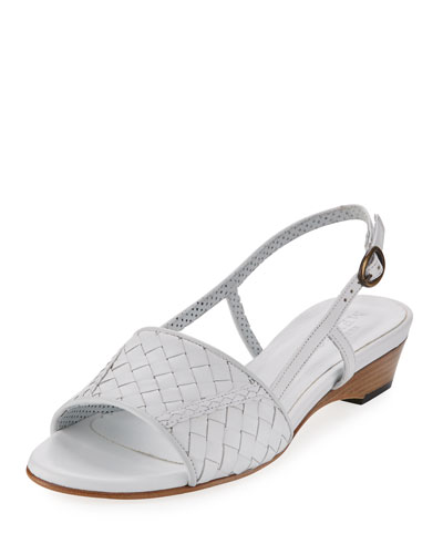 Ginger Woven Leather Sandal, White