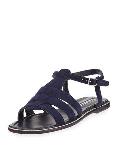 Canale Suede Flat Cage Sandal