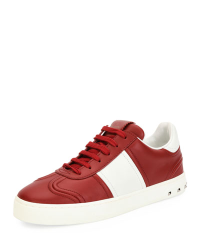 Fly Crew Lace-Up Leather Low-Top Sneaker, Red/White