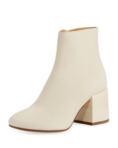 Smooth Leather Chunky Bootie, Beige