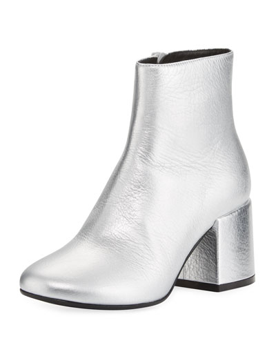 Metallic Leather Chunky Bootie, Silver