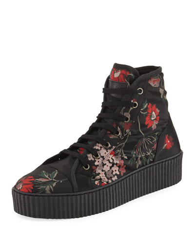 Floral-Print High-Top Sneaker, Multi