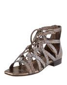 Gidget Woven Flat Gladiator Sandal, Pewter