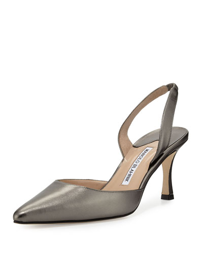 Carolyne Leather Mid-Heel Halter Pump