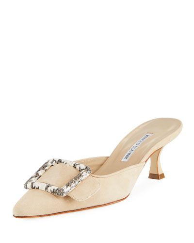 Maysale Patent Leather 50mm Mule, Nude