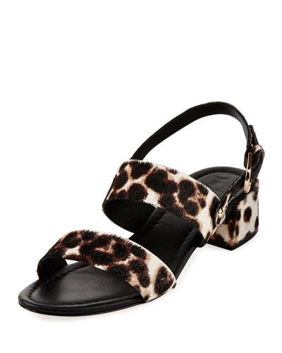 Rach Calf Hair City Sandal, Snow Leopard