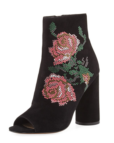 Barri Floral Open-Toe Bootie, Black