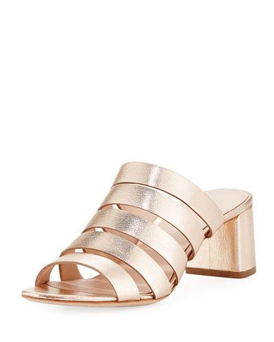 Finley Metallic Slide Sandal, Rose Gold