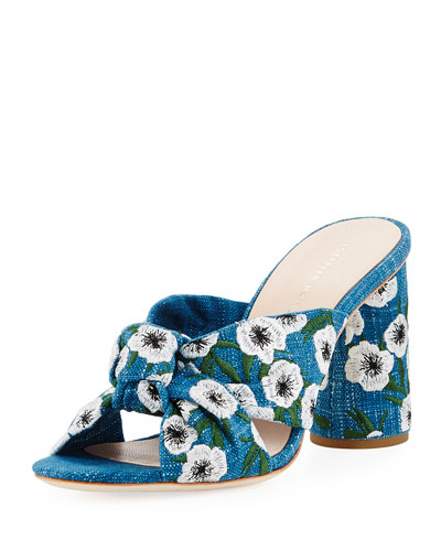 Coco Denim Embroidered Mule Sandal, Indigo