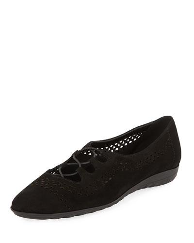 Bizzy Perforated Slip-On Flat, Black