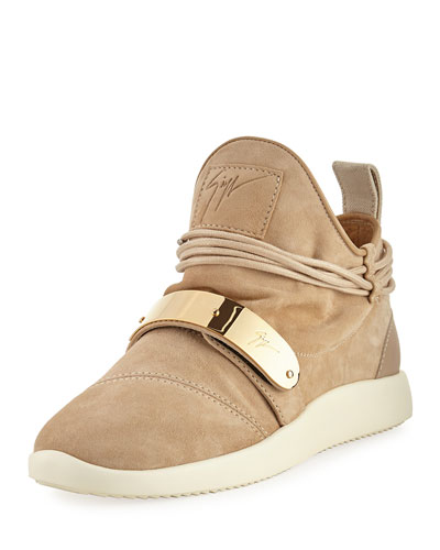 Suede High-Top Sneaker, Beige