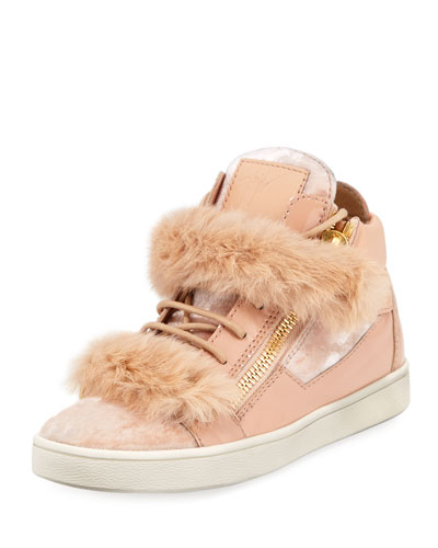 Side Zip Fur-Trimmed High-Top Sneaker