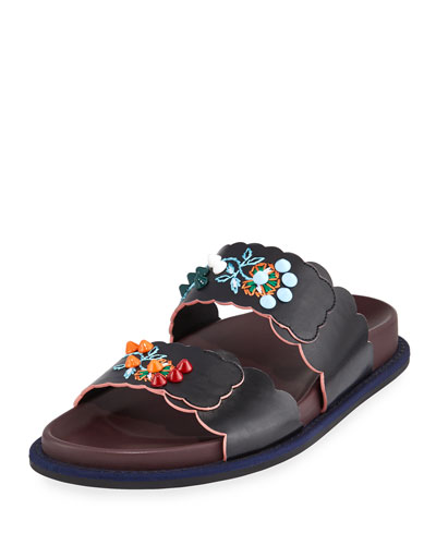 Embroidered Leather Flat Slide Sandal