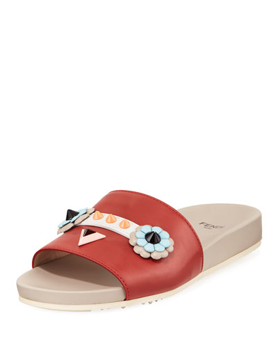 Faces Flat Slide Sandal, Red
