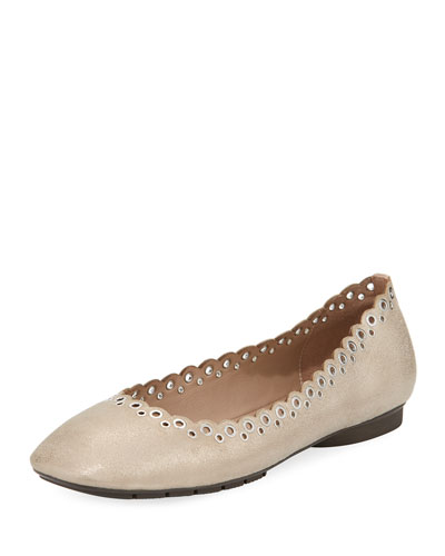 Dana Grommet Metallic Flat Pump, Gray