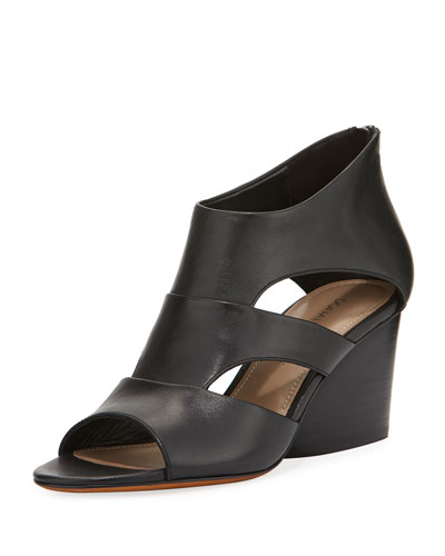 Jenkin Leather Demi-Wedge Sandal, Black