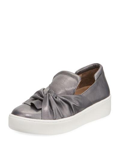 Celest Ruching Metallic Sneaker, Gray