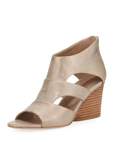 Jenkin Leather Demi-Wedge Sandal, Gray