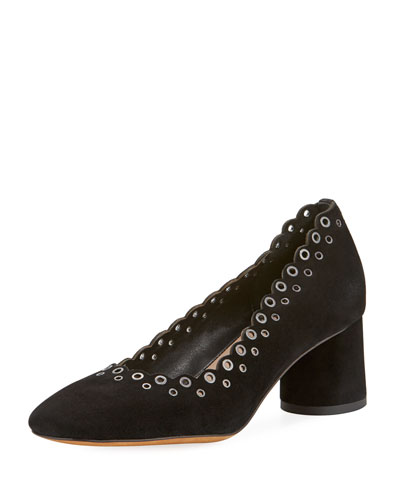 Cary Grommet Suede Pump, Black