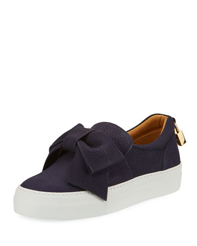 40mm Pebbled Nubuck Bow Sneaker, Blue Ink