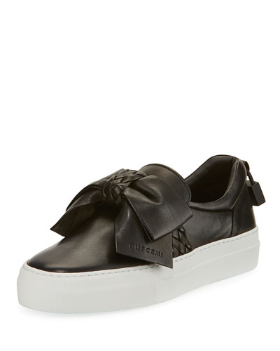 40mm Woven Leather Bow Sneaker, Black