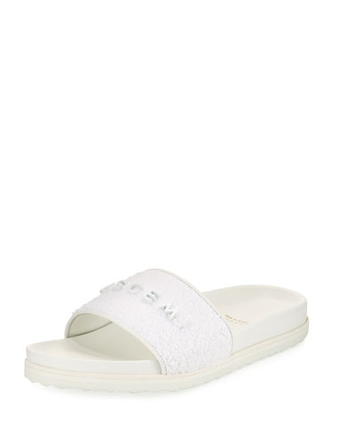 Terry Molded Side Sandal, White
