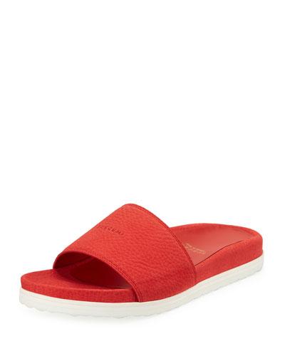 Nubuck Flat Slide Sandal, Ramino