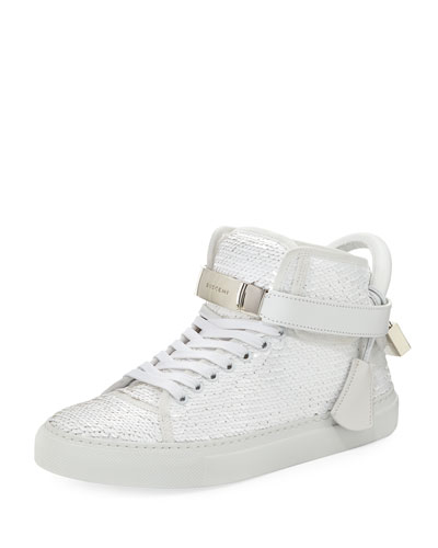 100mm Sequin Lace-Up High-Top Sneaker, White