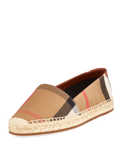 Hodgeson Check Espadrille Flat, Tan