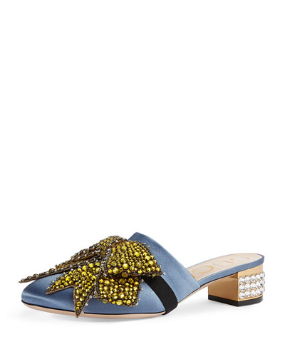 Bow-Embellished Low-Heel Mule