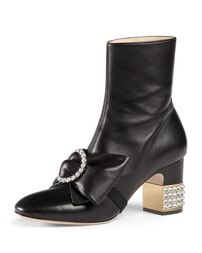 Embellished Mid-Heel Booties, Black