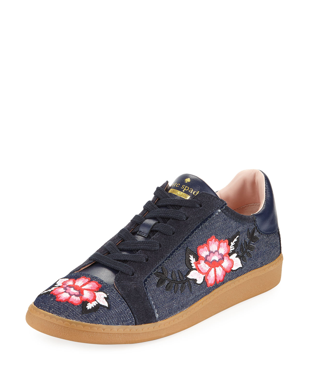 everhart floral-embroidered denim low-top sneaker