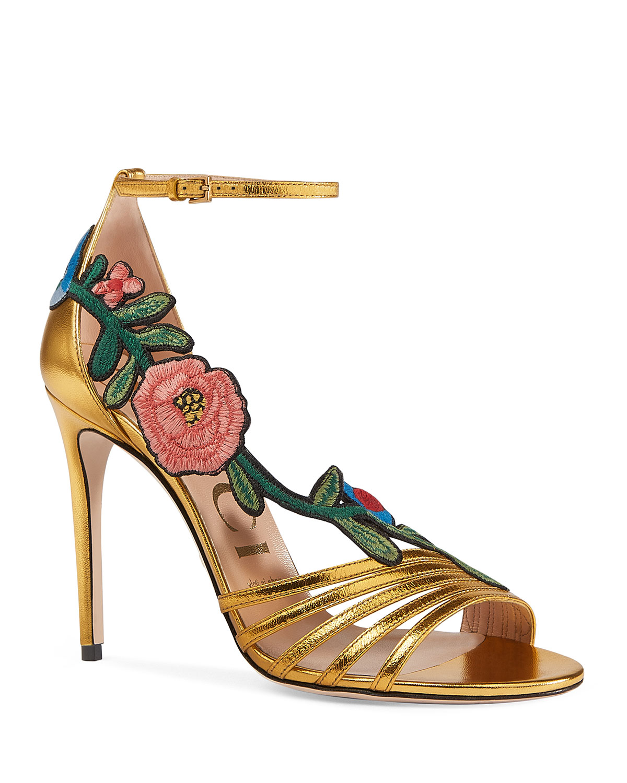 0c8f3e7f765 Ophelia Embroidered Metallic Sandal