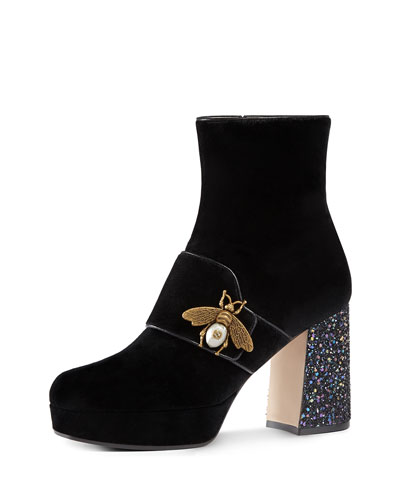 Soko Glitter-Heel Bee Boot, Black