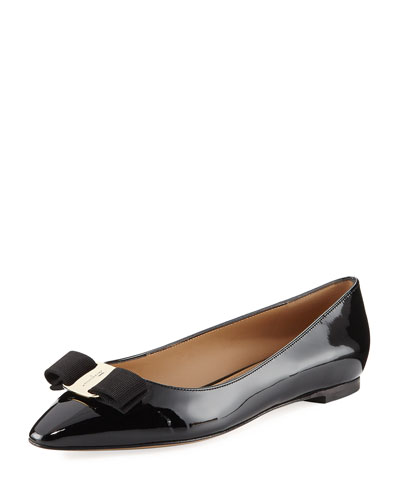 Patent Ballerina Flat, Black