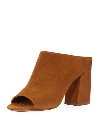 Paris Suede Mule Sandal, Hazelnut