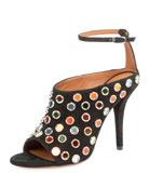 Multicolor-Studded Suede Sandal, Black
