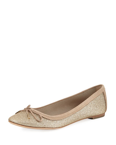 Enea Glitter Ballerina Flat, Gold