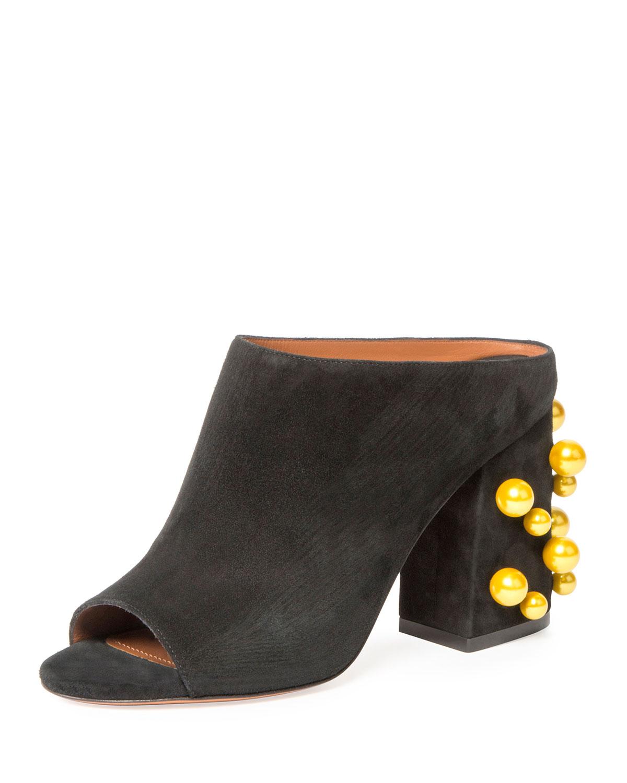 Paris Pearly-Stud 90mm Mule Sandal, Black/Yellow