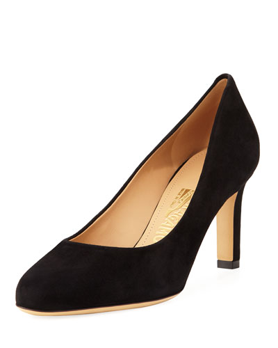 Suede 70mm Pump, Black
