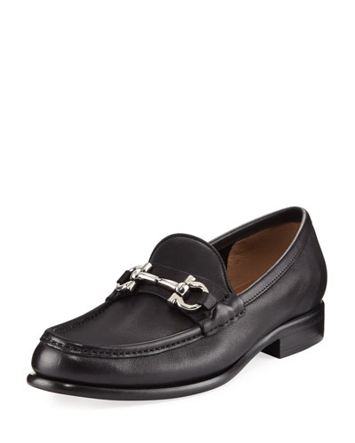 Gancini Leather Loafer, Black