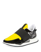 Two-Tone Elastic Runner Sneaker, Black/Yellow