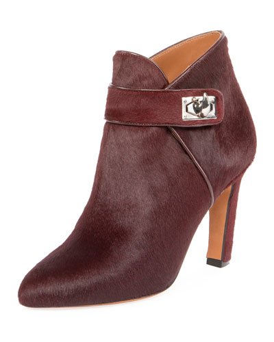 Shark Calf Hair Ankle Boot, Oxblood Red