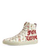 Major Blind For Love High-Top Sneaker, White/Red