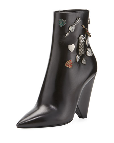 Button-Embellished Leather Bootie