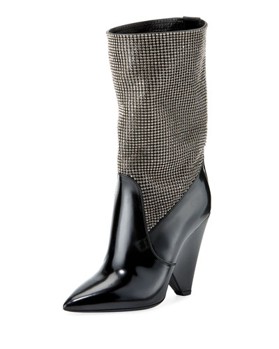 Embellished Cone-Heel Mid-Calf Boot